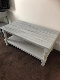 Shabby chic solid pine painted coffee table