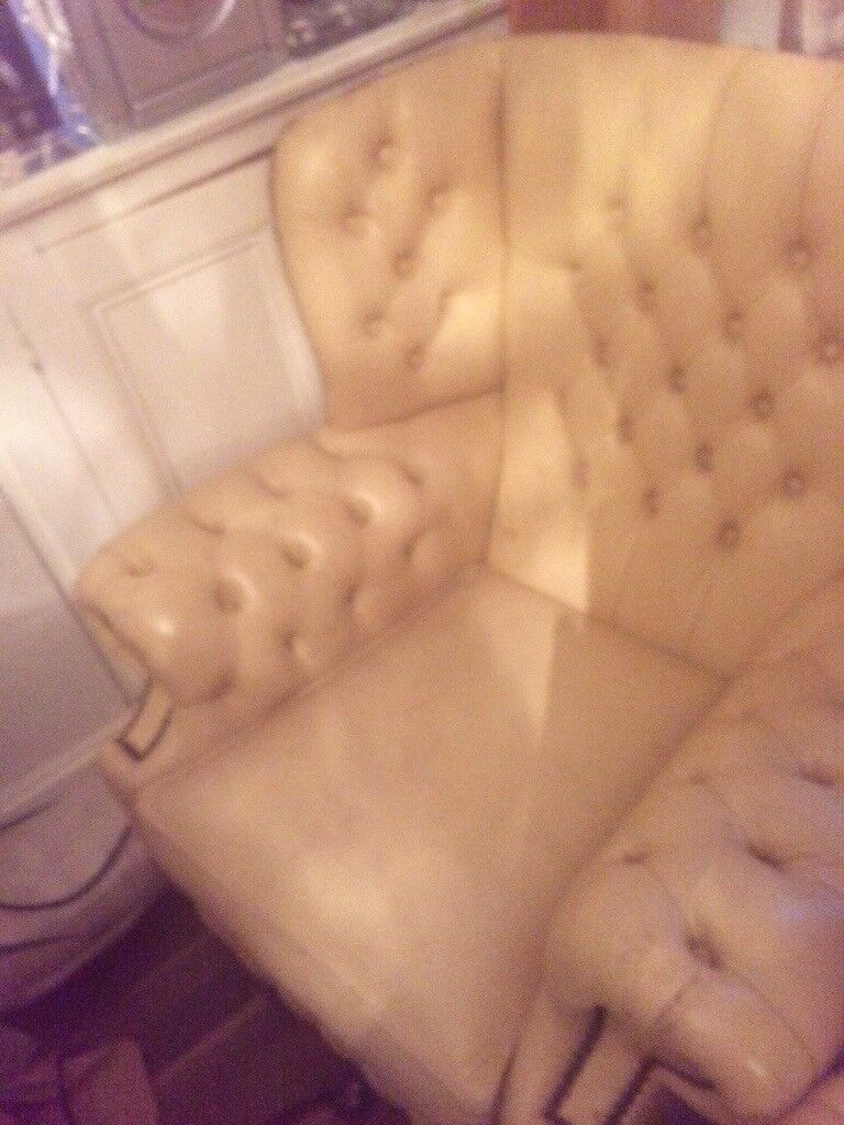 2 Beige Shabby chic fireside leather chairs