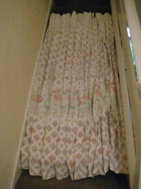 Single Curtain - Ivory-coloured with Pink Floral and Beige Diamond Pattern
