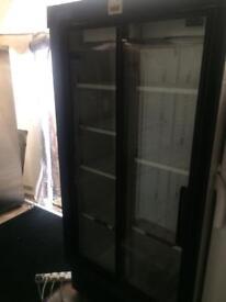 Black stay cold sliding door H 190cm W 90cm drinks choler refrigerators with guarantee