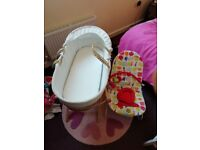 White Moses basket and vibrating bouncer chair