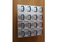 REALLY USEFUL STORAGE BOXES, 16 x 0.14L BOXES WITH WALL MOUNTABLE CASE, USED, 1 CASES IN TOTAL
