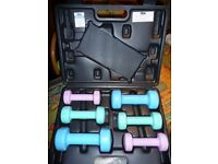 Ladies V-fit set of 6 portable dumbbells (10kgs total) with exercise instructions