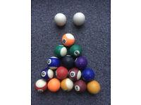 Set of 1 7/8 inch pool balls.