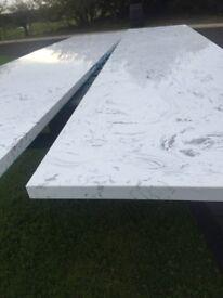 White marble type quartz worktops, granite solid surface