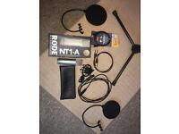 RODE NT1-A microphone with Mic Stand Pop Filter