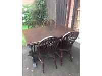 Solid extendable table and chairs / dining table
