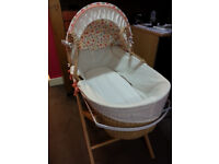 Moses Basket + 2 new fitted sheets (Egyptian cotton), Baby Bath Tub – Pink + acces - V. GOOD CON.