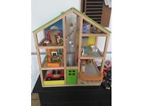 Hape dolls house furnished with extras