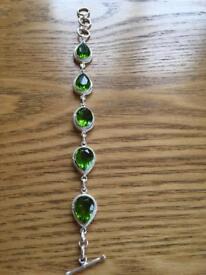 Ladies bracelet with green Peridot stones Hallmarked 925 new
