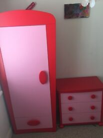 Kids wardrobe and 3 draws chest semi-new . Together or separate, £40 each.