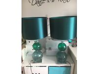 Pair of teal Next table lamps