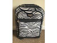 Kathy Zebra Print Suitcase 4 Wheel Travel Holiday Bag Beach