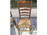 6 solid wooden chairs and folding table