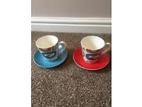 8 x Cath Kidston Clock cups and saucers