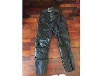 "Biker leather trousers black UK made 34"" waist"
