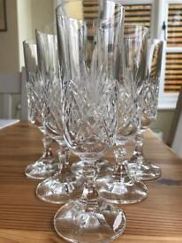 Crystal white, red and champagne glasses
