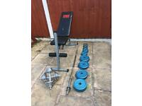 Bench With 80kg Cast Iron Weights Set. Can deliver