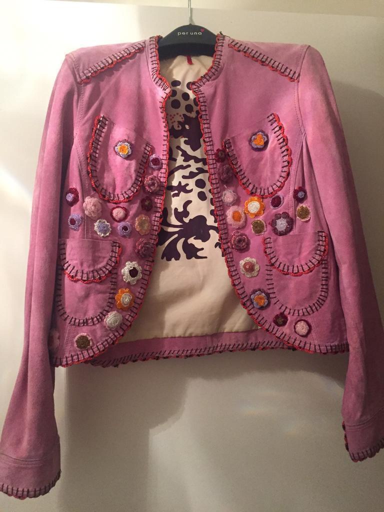 Boho Ibizan pink suade detailed jacket