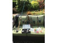 5 fishing rods, reels, line and accessories