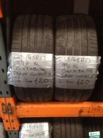 245/45/17 continental sport contact 5