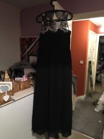 Black long evening dress size 16