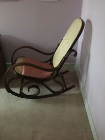 Rocking chair - bentwood frame rattan seat & back