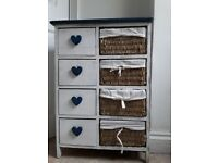 Shabby Chic Rustic Hearts & Wicker Storage Drawers (Bathroom Bedroom Kitchen)