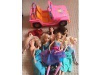 Barbie dolls and car