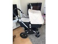 Immaculate bugaboo cameleon 3 unisex off white or red hood and apron option