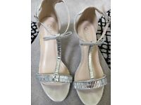 Silver T bar bridal shoes size 3