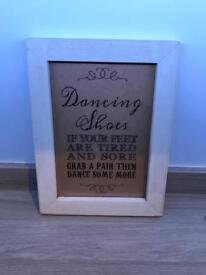 Framed A4 Dancing Shoes Sign for weddings or parties