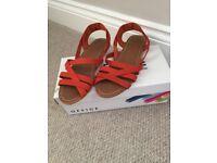 Office orange strappy sandals