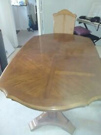 French Design Dinning table with six matching chairs.