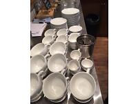 Cups, saucers, glasses, teaspoons