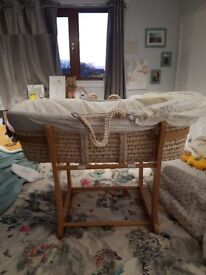 John Lewis Moses Basket and Rocking Stand £20