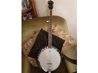 5 string bluegrass banjo - with shoulder strap.