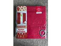 """BRAND NEW LIGHT REDUCING THERMAL BACKED EYELET CURTAINS 117 X 137CM (46 X 54"""") - RED"""