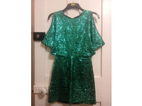 sequined green dress PERFECT for christmas size 8-10