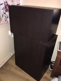 3 ikea besta storage boxes, black brown