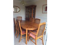 Table chairs dresser. Beautiful contemporary furniture in solid hardwood wiith 6 chairs and dresser