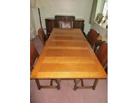 Antique Oak dining suite with large table, 5 chairs and sideboard. Excellent condition
