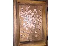 Miniature wooden letter tiles