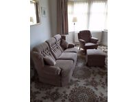 3 SEATER SETTEE+HIGH BACK CHAIR +STORAGE POUFFE
