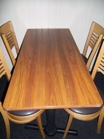 Restaurant / Cafe Tables great condition 60cm x 110cm,very strong Metal Stand with adjustable feet .