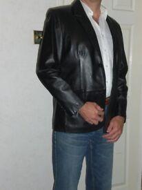 Black leather jacket (men's casual)