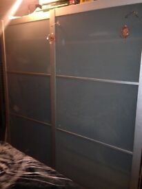 Ikea pax wardrobe with sliding glass doors