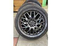 17 inch multi fitnent BK Racing alloys x5