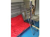 High bed sleeper with pull out double bed futon