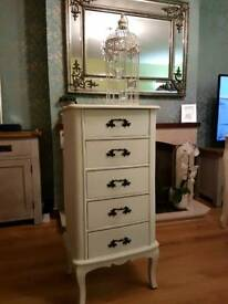 Vintage shabby chic tall boy chest of drawers ONO